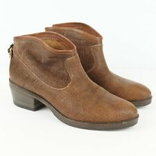 Fiorentini + Baker Textured Back Zip Brown Ankle Booties Womens Sz 9 / 39