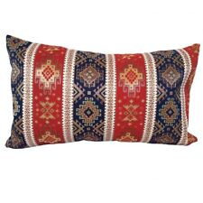 """Red/Blue Kilim Pattern Tapestry 14x24"""" Lumbar Throw Pillow Case / Cushion Cover"""
