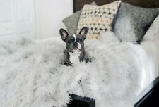 """Paw.com PupProtector Waterproof Throw Dog Blanket Faux Fur - Grey 60"""" x 50"""" New"""