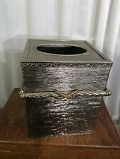 $29 Retail Euc Tissue box cover square Silver Metal by Bed Bath Beyond Rare