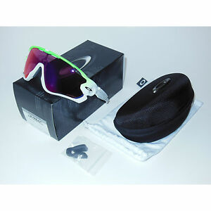 New Oakley Jawbreaker Sunglasses Green Fade/Prizm Road Cycling White Shield USA