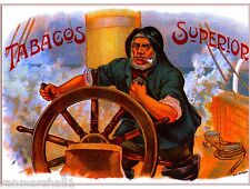 Tabacos Superior Vintage Cigar Tobacco Box Crate Inner Label Art 7x10 inch Print