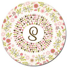 Monogrammed Mouse Pad - Floral Personalized Round Mouse Pad Custom Monogram Gift