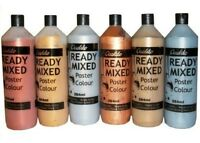 6 X METALIC  ASSORTED COLOUR READY MIXED PAINT 284ML EACH