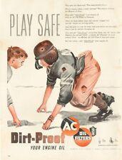 1950 AC PRINT AD Oil Filter Cute Fun Decor Play Safe Football theme