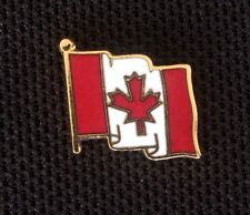 LOT OF 5 CANADIAN FLOWING FLAG PINS FOR LAPEL OR HAT - WHITE RED GOLD - NEW