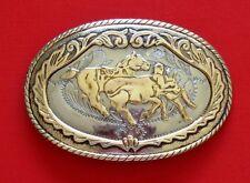 Vintage German Silver Steer Roping Western Belt Buckle