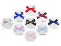 Polka Dot Bows Made of 7mm Satin Ribbon 10 Colours Packets of 15, 50, or 100