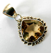 Solid Silver Faceted Citrine Drop Pendant