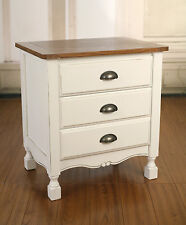 Bedside Chest Timber Top French Provincial Antique White Bedside Table BRAND NEW