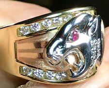 GOLD 14k Mens Ring panther jaguar Simulated Diamond ruby tri  10 ask 8 9 11 12
