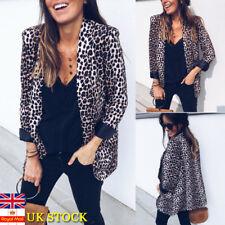 Women Leopard Print Long Sleeve Suit Coat Blazer Biker Jacket Outwear Tops 10-16