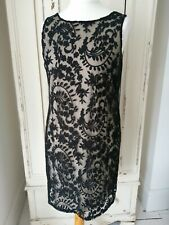 WALLIS Dress Size 14 lace embroidery black nude shift party evening Wedding