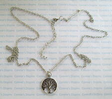 METAL TREE in CIRCLE CHARM & NECKLACE: 28 in long Neck Chain Silver Tone Pendant