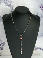 """925 Sterling Silver & Pink Glass Bead 19"""" 48cm Belcher Chain Necklace (D3L)"""