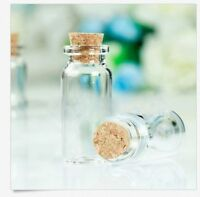 50 Pcs Mini 22*50mm  Clear Empty Glass Wishing Bottles Vials With Cork 10ml MA