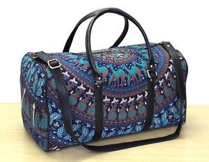 New Mandala Indian 100%Cotton Duffel Carrier Bag & Adjustable Strap Luggage Bag