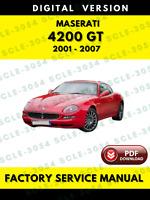 Maserati 4200 GT Tipo M138 2001-2007 Factory Service Repair Workshop Manual
