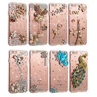 Girl's Handmade Luxury Bling Diamond Rhinestones Jewelled Clear Phone Case Cover