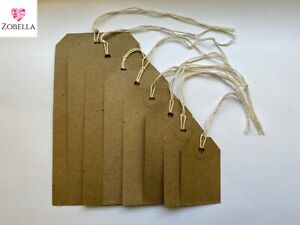 Gift Tags Manila Brown Buff Reinforced Tags Vintage with String Various Sizes