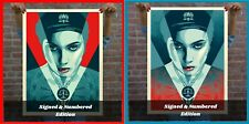 """Obey Giant """"Justice Woman"""" Blue + Red Print SET Numbered and Signed! SEALED!"""