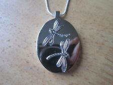 STAINLESS STEEL DRAGONFLY URN NECKLACE - MOURNING, ASHES, LOCK OF HAIR, MEMORIAL