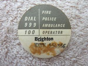 GPO BT P.O Original Used Telephone Dial Label 706 746 8746 Brighton Old phone