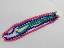 Girls' Fashion Jewelry ~ Colorful Bead Necklaces, Set of 3 (Pink, Green, Purple)