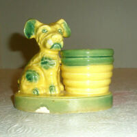 Vintage Ceramic Planter Terrier Dog Yellow Green Made in Japan