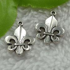 free ship 140 pcs tibet silver Fleur de lis charms 22x17mm #2685