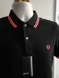 FRED PERRY SLIM FIT BLACK/ HOT PINK SHORT SLEEVE  MENS SHIRT SIZE S NWT