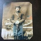 Civil War Military UNIDENTIFIED UNION SOLDIER WITH SWORD & Flag TinType C736NP