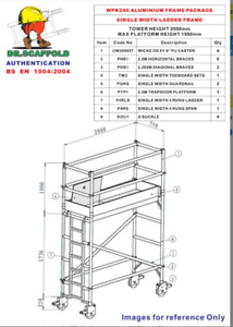 750mm x 2000mm x 1990mm platform height aluminium mobile scaffold