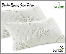 2x New Luxury Bamboo Memory Foam Pillow Support Pillow **Free Removable Cover**
