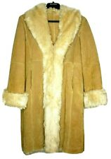 Wilsons Leather Womens Suede Jacket Coat Large Long Faux Fur Brown/Tan GUC