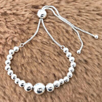 Authentic 925 Sterling Silver Purely String of Beads Slider Bracelet NEW 100%