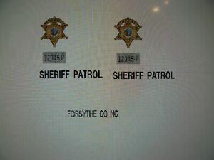 Forsyth County North Carolina Old School Sheriff Car decals    24 scale