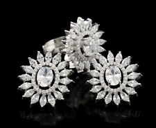 Set 12 We 12 12 Wr 2 Cubic zirconia White Marquise Stud Earring Ring