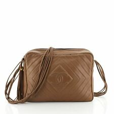 ChanelVintage Diamond CC Flap Pocket Camera Bag Quilted Lambskin Medium