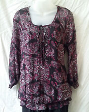 Target Size 12-14 Peasant Top Blouse Womens 3/4 Slv Work Casual Evening FREEPOST