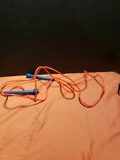 """Vintage school jump rope Toy 90"""" Blue handle red softer plastic solid tube type"""