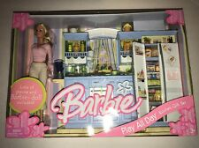 Brand New In Box! Barbie Play All Day Kitchen Gift Set With Full Size Doll Rare!