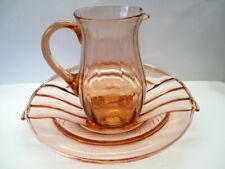 Art Deco ROSALIN GLAS Pressglas SCHALE Teller Kistallglas KRUG Saft Wasser Kanne