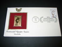 1996 DISCOBOLUS CENTENNIAL OLYMPIC GAMES 22kt Gold GOLDEN Cover Replica Stamp