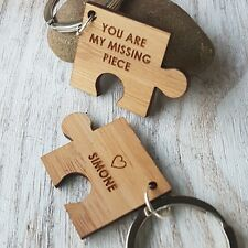Personalised Wooden Puzzle Piece / Jigsaw  keyring