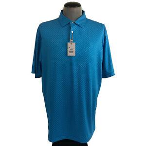 NWT Peter Millar Summer Comfort Mens XL Blue Dot Hazeltine Stretch Golf Polo $98