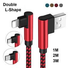 1 ~ 3M 90° Fast 2a Trenza Micro USB C Lightning Cable de Carga para Iphone X 8