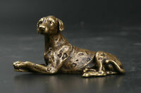 70MMCollect China Bronze Animal Fengshui 12 Zodiac Dog Doggy Puppy Amulet Statue