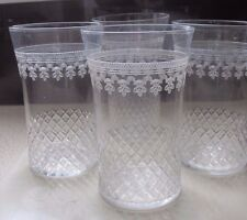 VICTORIAN PALL MALL OR PARK LANE FINE GLASS,ETCHED DRINKING GLASSES X 3 TUMBLER