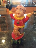 VINTAGE RARE JAPAN CELLULOID CIRCUS CLOWN WITH MONKEY WINDUP TOY